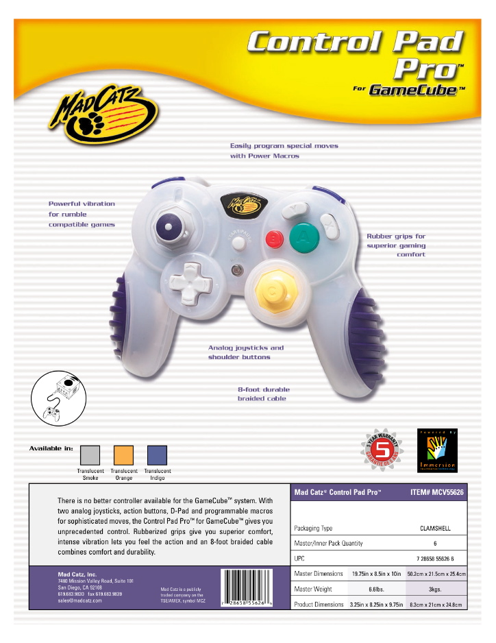 Gamecube MadCatz Pro Pad 5626 Sales Sheet.jpg