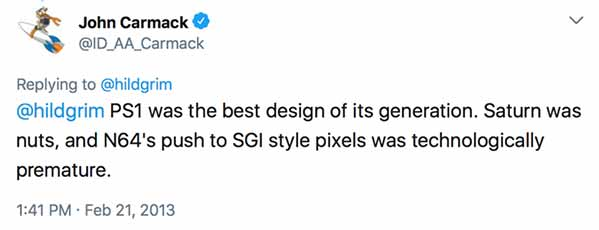 PS1 was the best design of its generation. Saturn was nuts, and N64's push to SGI style pixels was technologically premature.