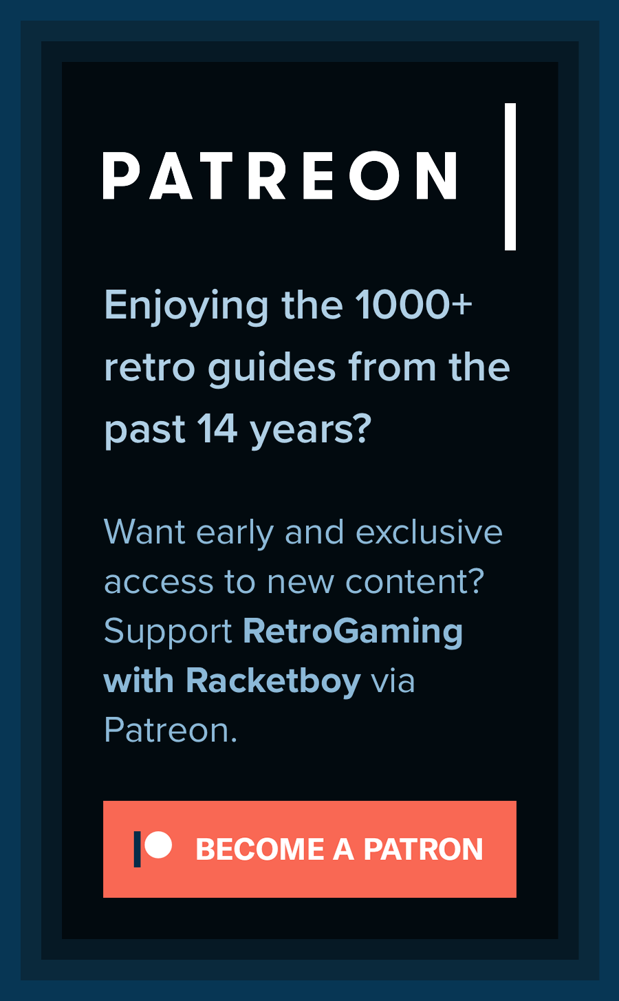 Support RetroGaming with Racketboy via Patreon